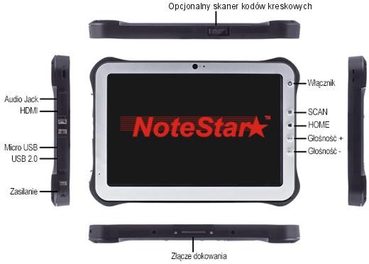 Tablet przemysłowy NoteStar TBR-HR1001A - porty